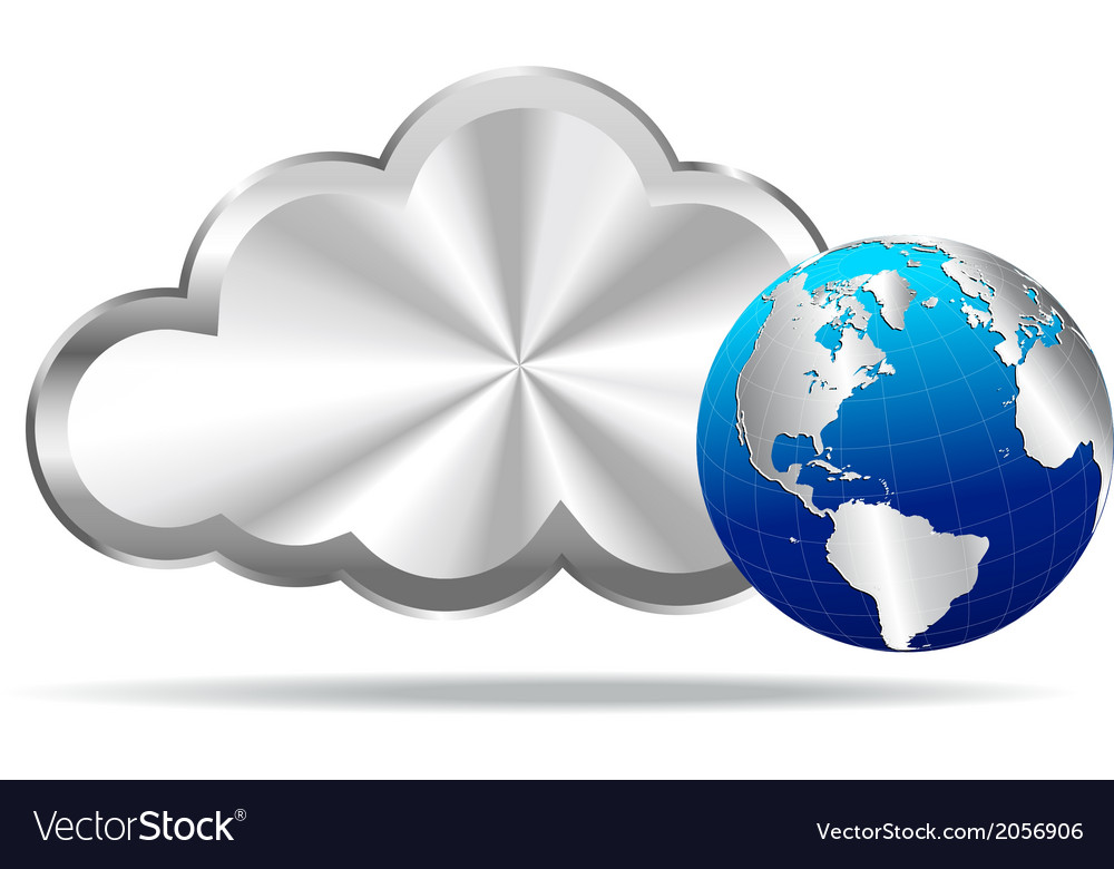 Silver cloud and world icon vector | Price: 1 Credit (USD $1)