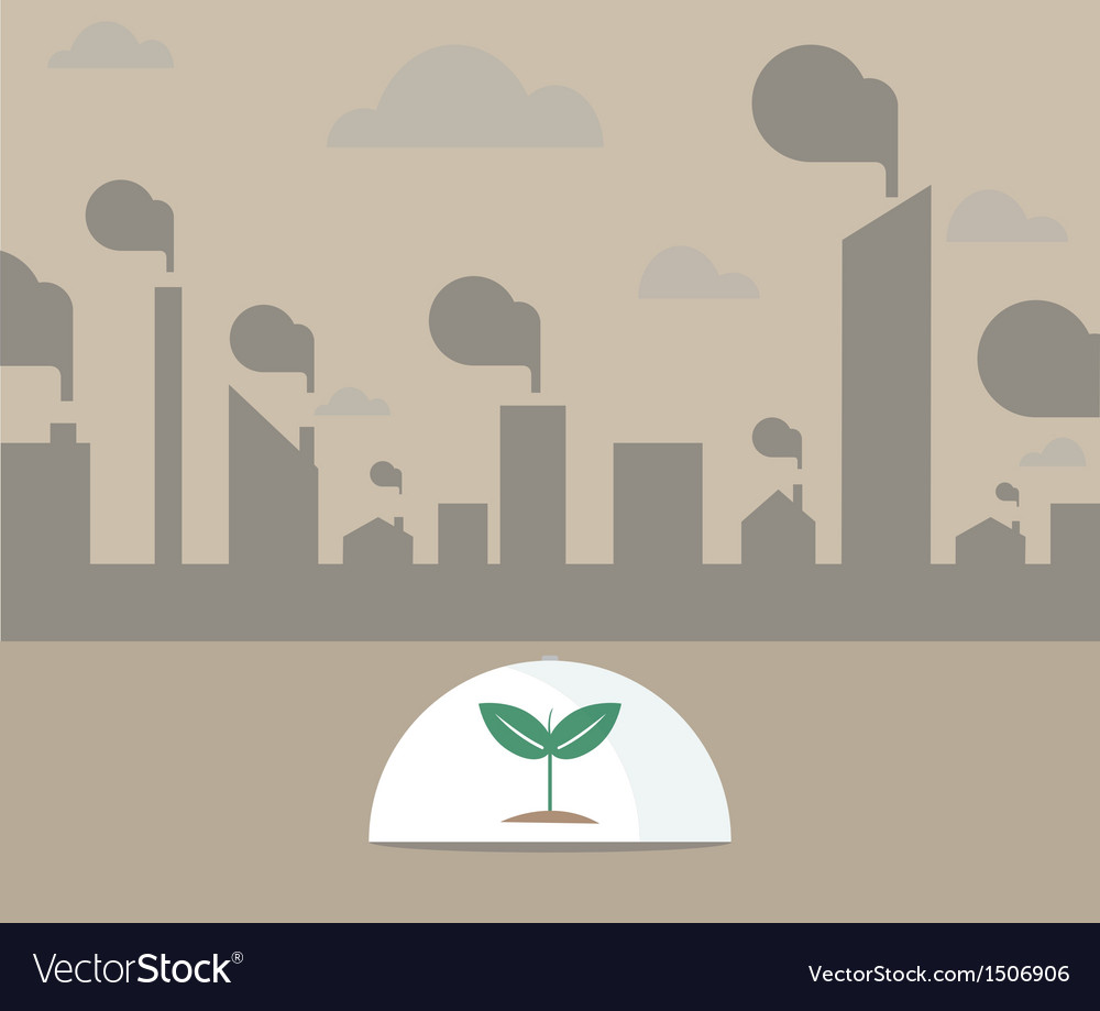 Single tree under glass shield vector | Price: 1 Credit (USD $1)