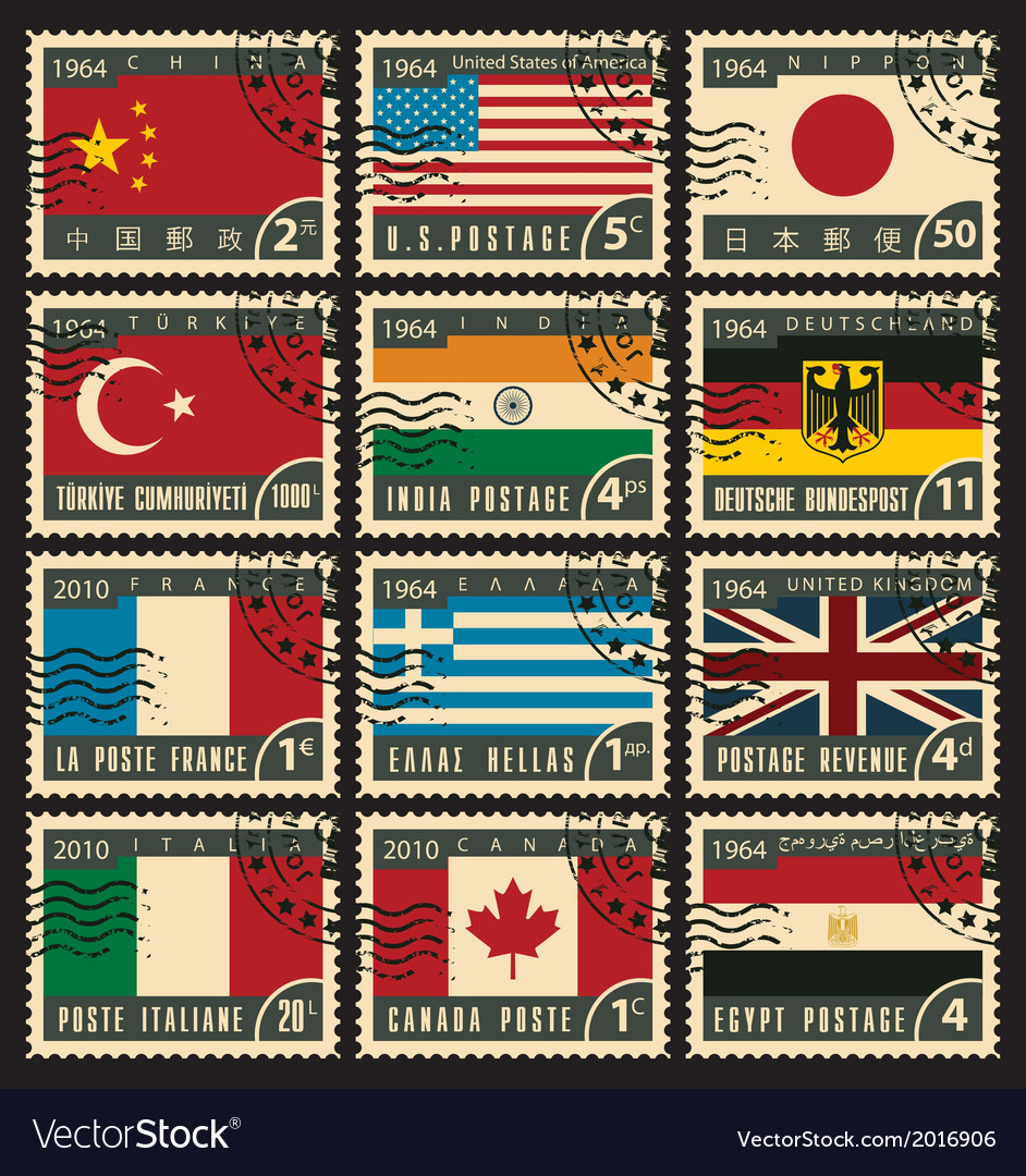 Stamps with flags vector | Price: 1 Credit (USD $1)