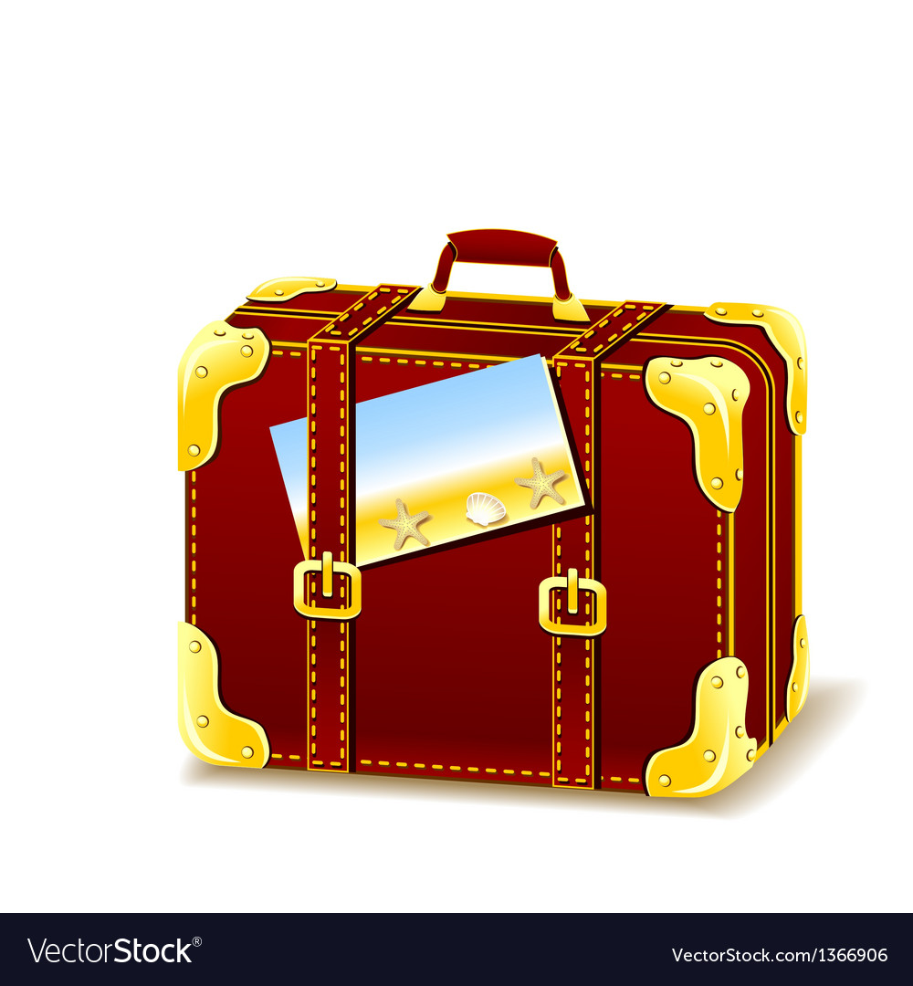 Suitcase for summer isolated with flyer vector | Price: 1 Credit (USD $1)