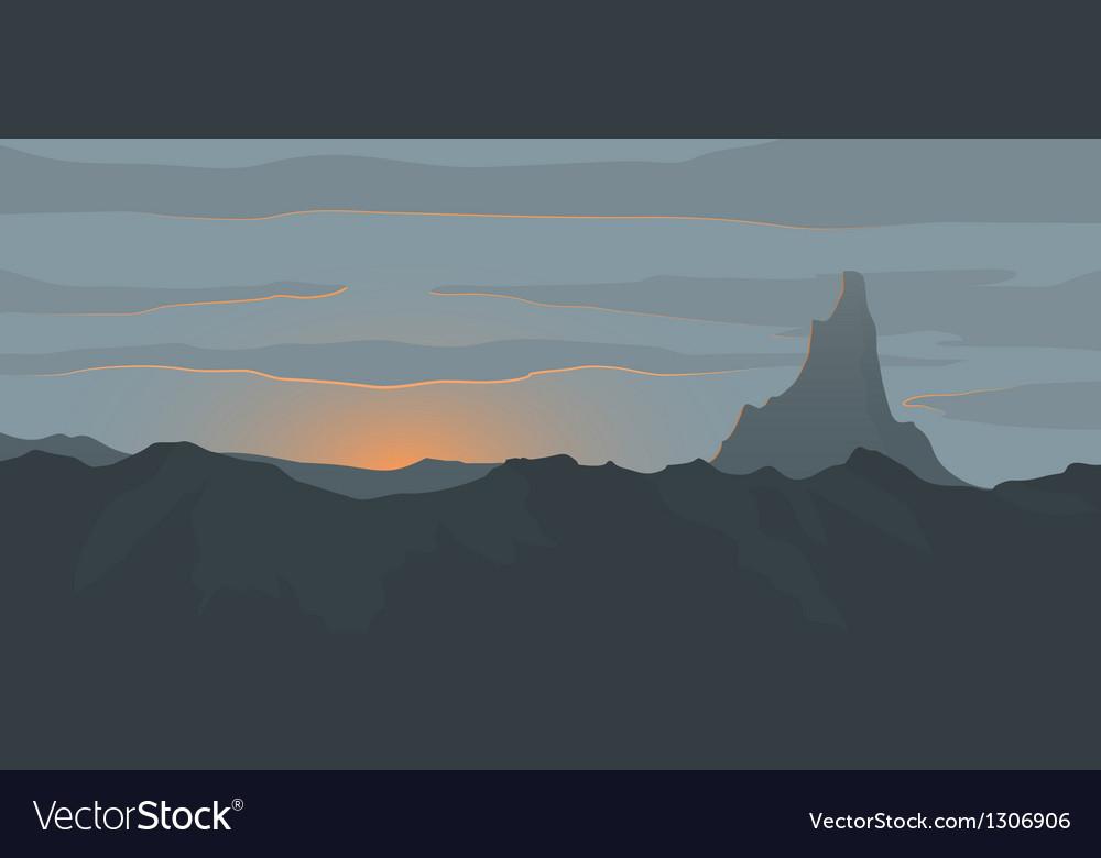 Sunset landscape vector | Price: 1 Credit (USD $1)