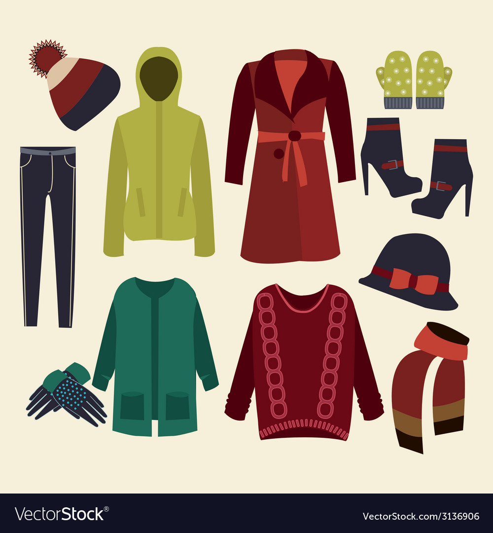 Winter clothes collection vector | Price: 1 Credit (USD $1)