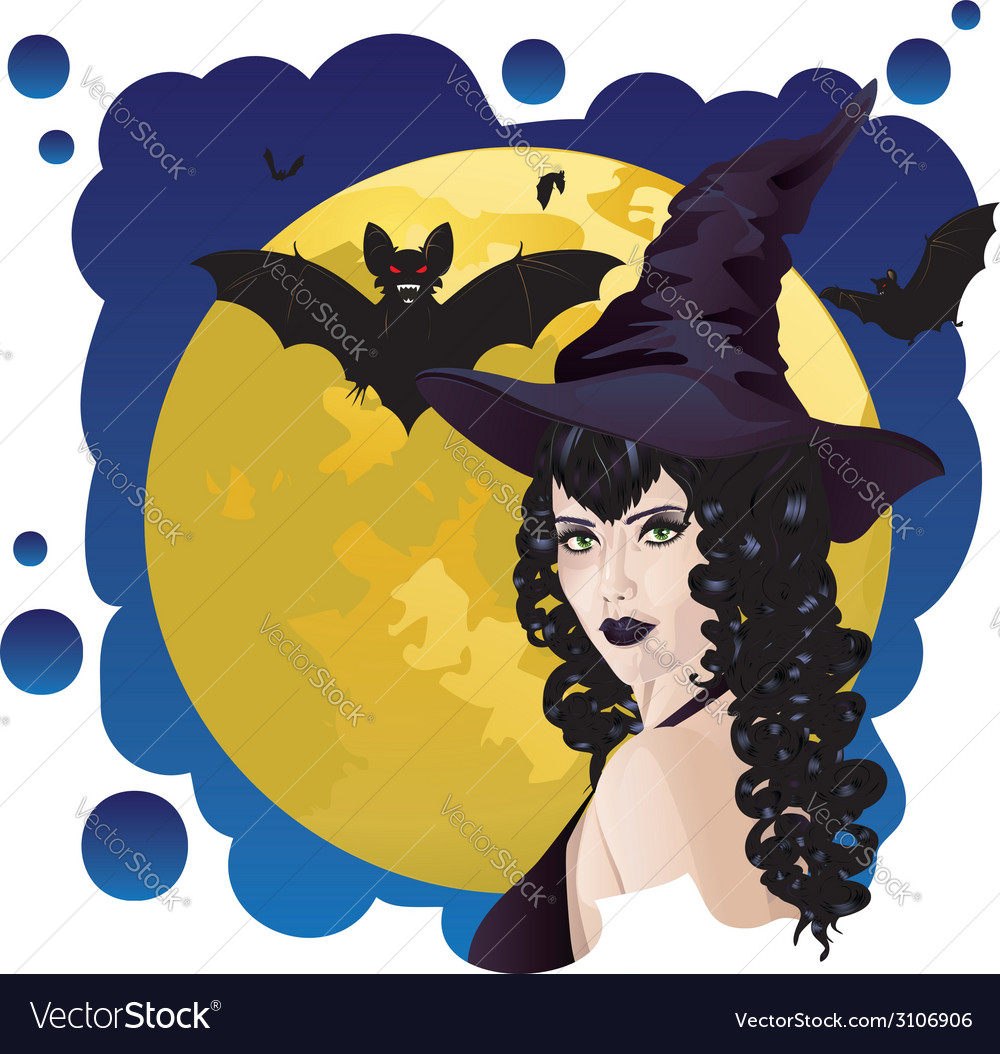 Witch and bats vector | Price: 1 Credit (USD $1)