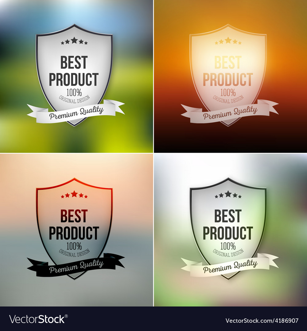 Best product shields set isolated on blurred vector | Price: 1 Credit (USD $1)
