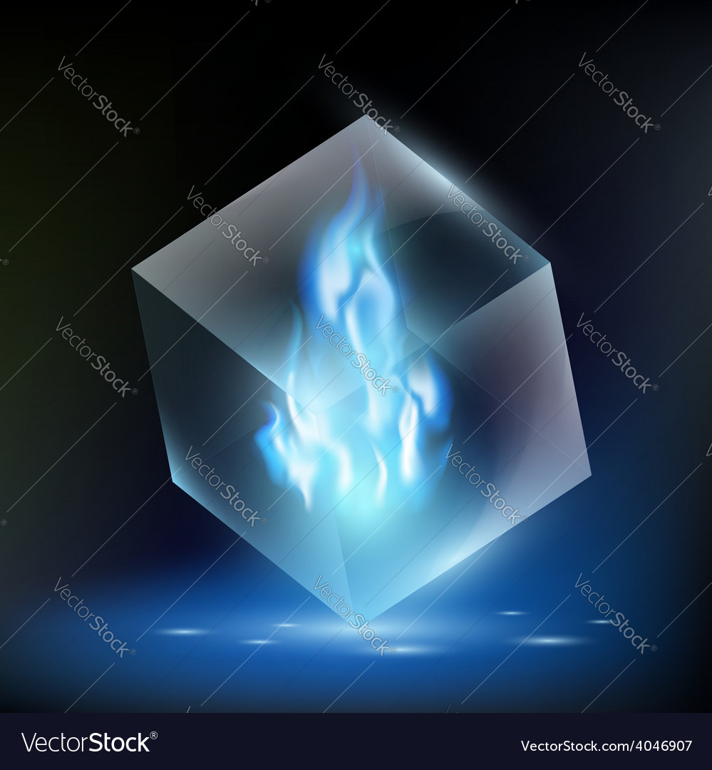 Blue flame inside a glass cube vector | Price: 1 Credit (USD $1)