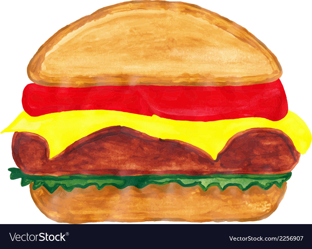 Burger watercolors vector | Price: 1 Credit (USD $1)