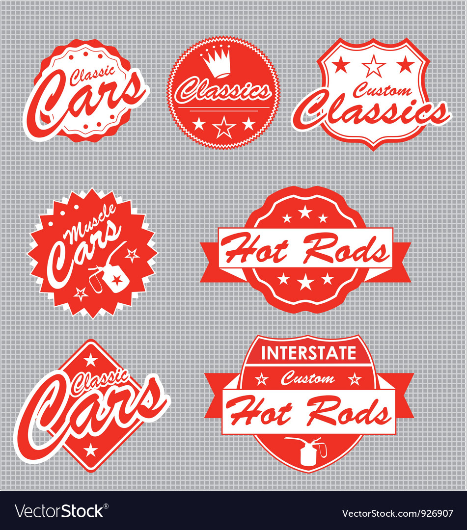 Classic cars labels vector | Price: 1 Credit (USD $1)
