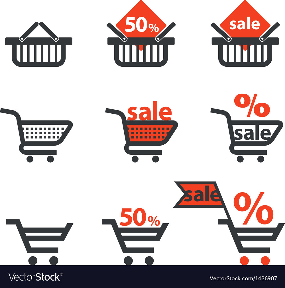 Dicsount icons with shopping cart and trolley vector | Price: 1 Credit (USD $1)
