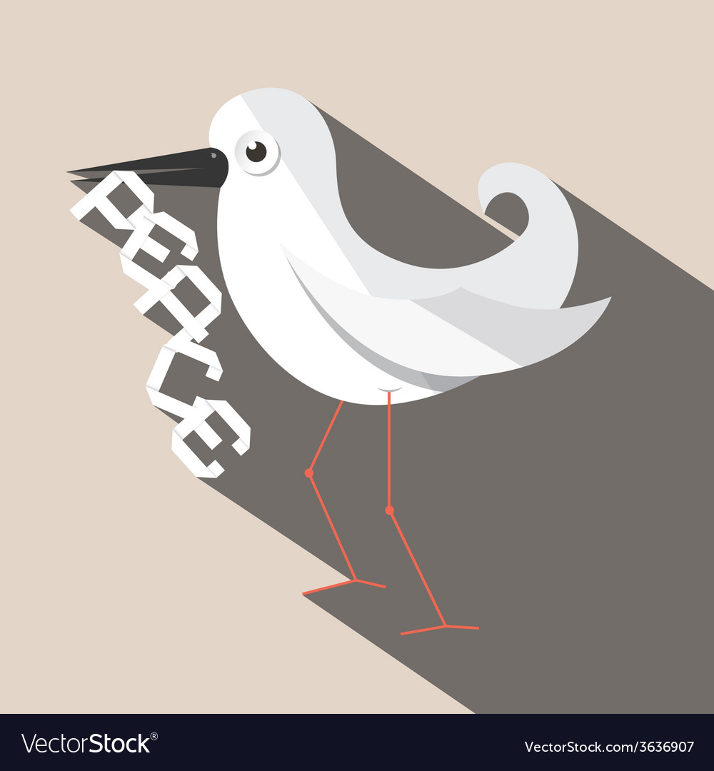 Dove bird with paper peace title vector | Price: 1 Credit (USD $1)