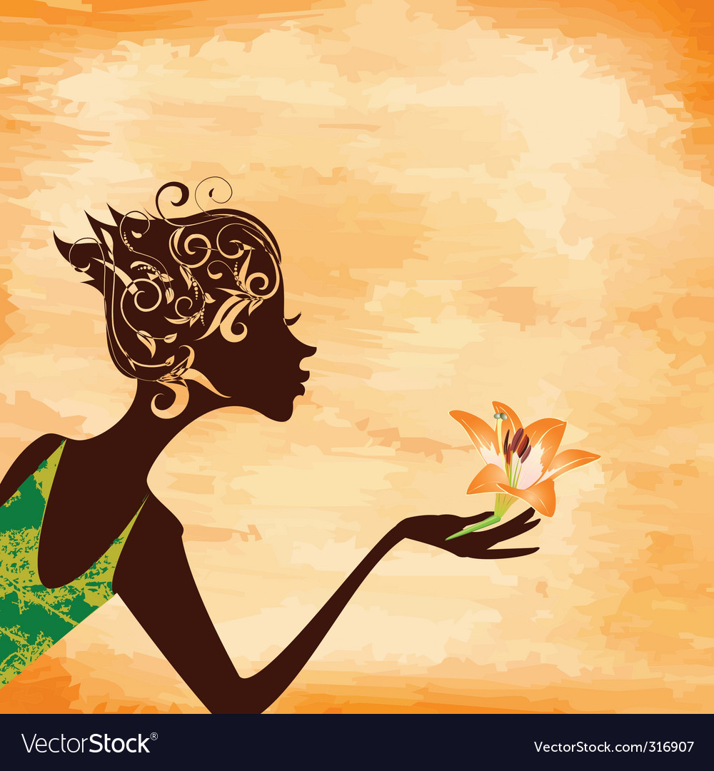 Girl with a flower vector | Price: 1 Credit (USD $1)