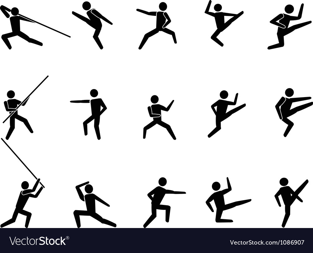 Martial arts symbol people icons vector | Price: 1 Credit (USD $1)