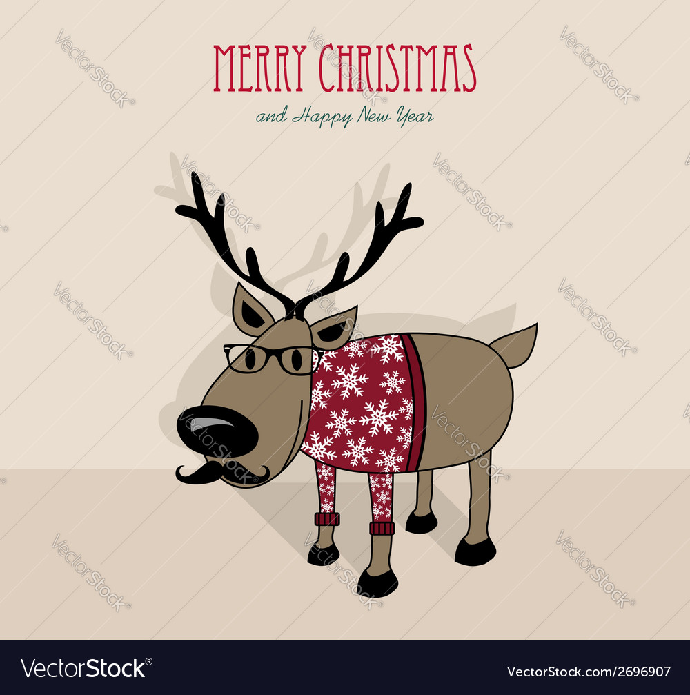Merry christmas and happy new year hipster vector | Price: 1 Credit (USD $1)