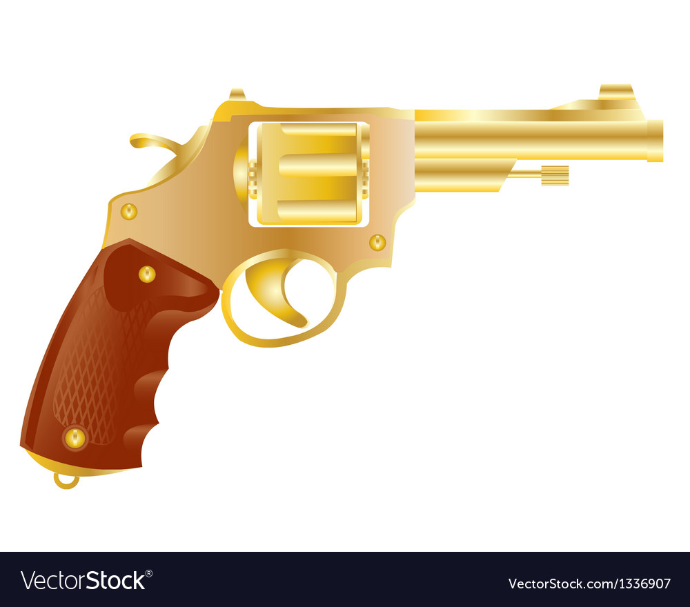 Revolver from gilded metal vector | Price: 1 Credit (USD $1)