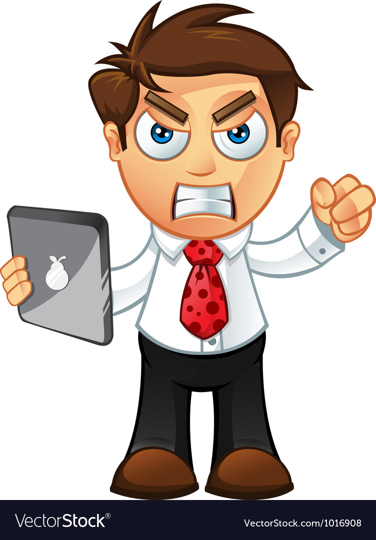 Business man angry with tablet vector | Price: 3 Credit (USD $3)