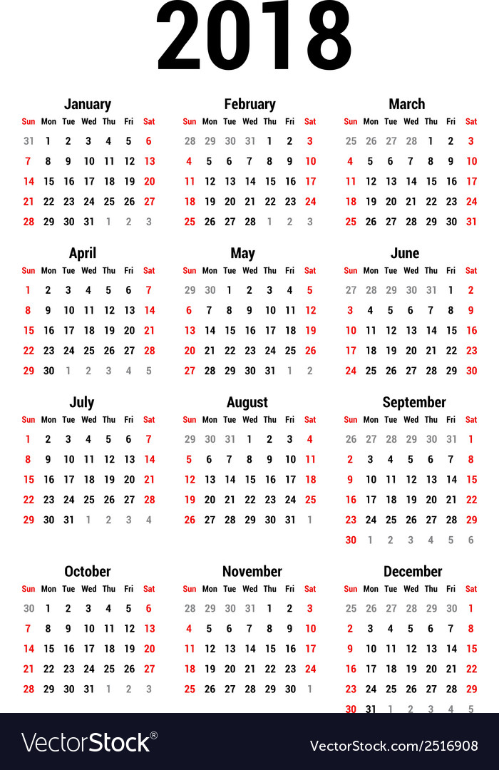 Calendar 2018 vector | Price: 1 Credit (USD $1)