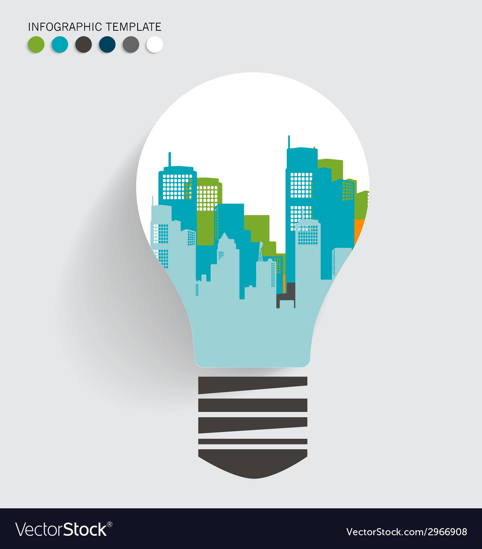 City in light bulb vector | Price: 1 Credit (USD $1)