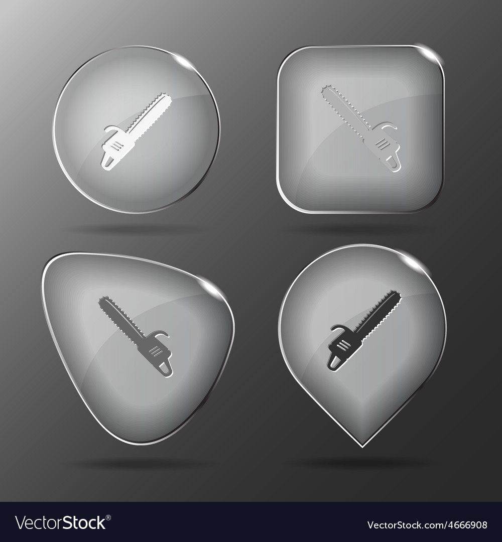 Gasoline-powered saw glass buttons vector | Price: 1 Credit (USD $1)