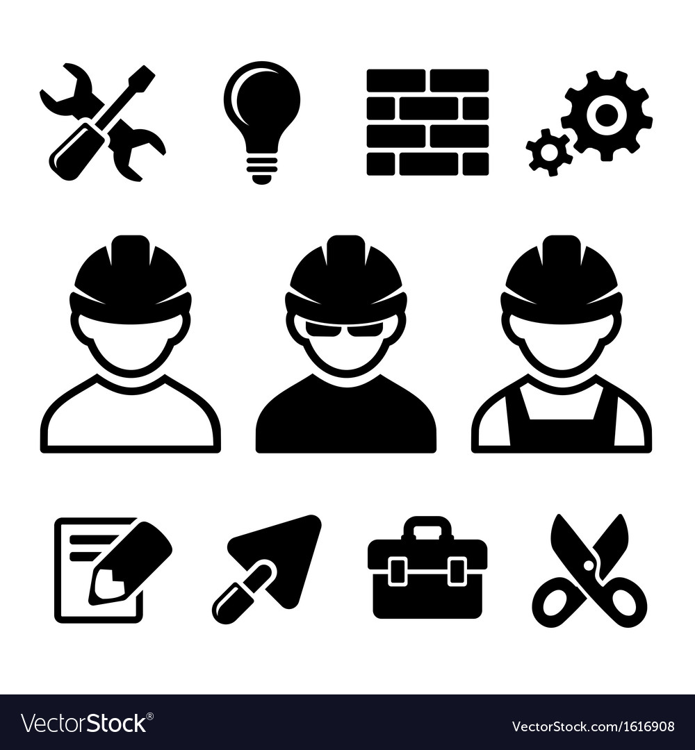 Industrial worker icons set vector | Price: 1 Credit (USD $1)