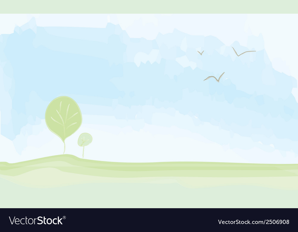 Peaceful landscape summer - watercolor painting vector | Price: 1 Credit (USD $1)