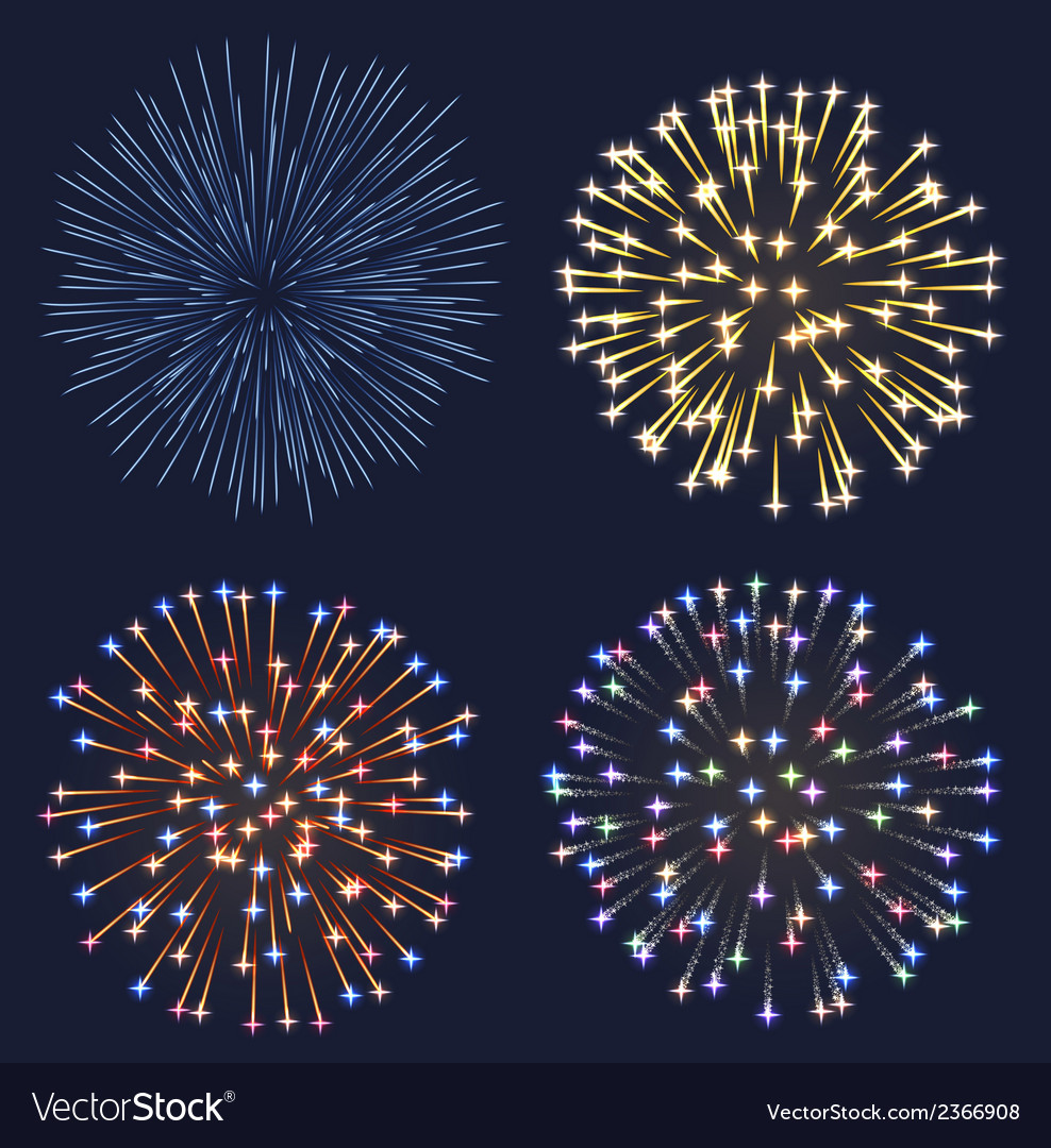 Set of fireworks vector | Price: 1 Credit (USD $1)