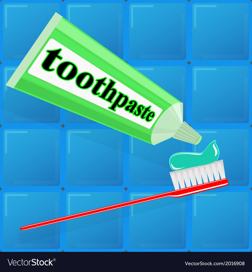 Spread toothpaste on the brush vector   Price: 1 Credit (USD $1)