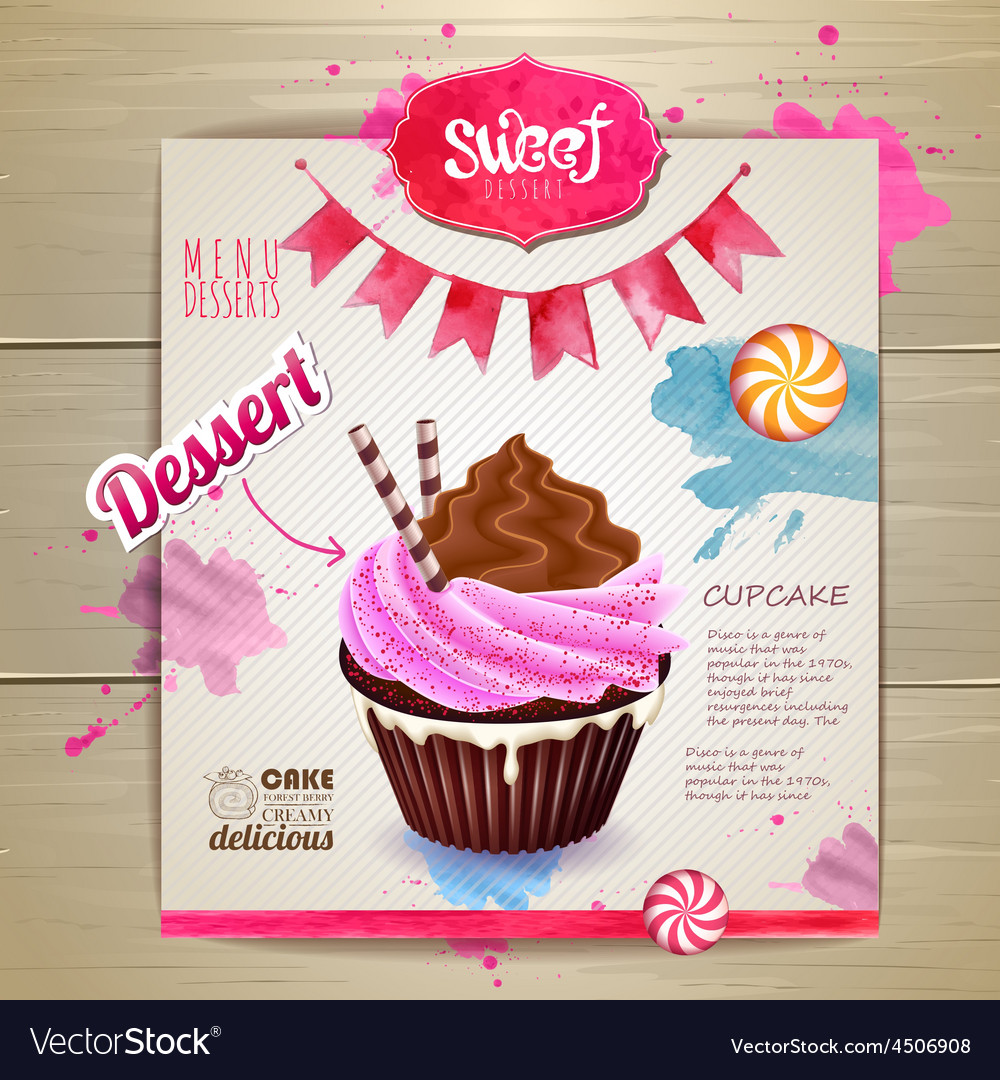 Vintage cupcake poster design vector | Price: 5 Credit (USD $5)