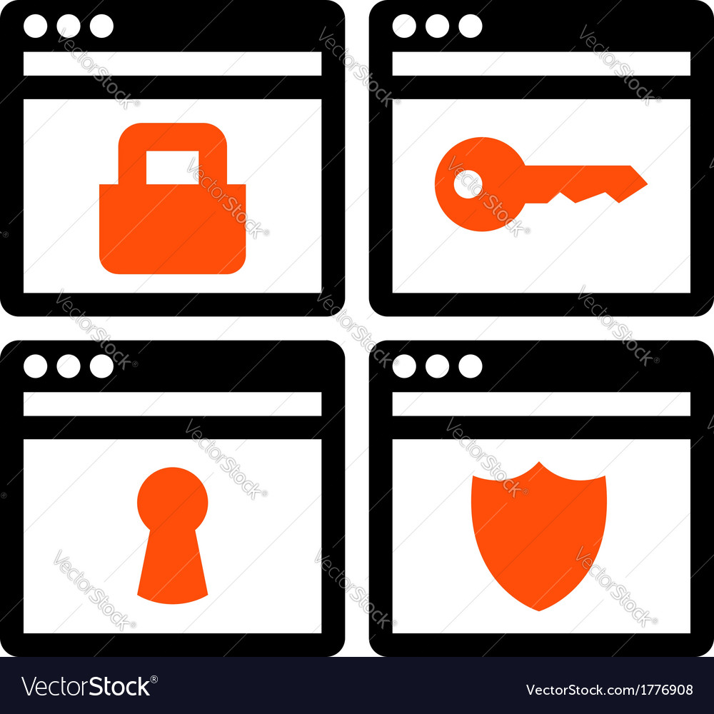 Web security icons vector | Price: 1 Credit (USD $1)