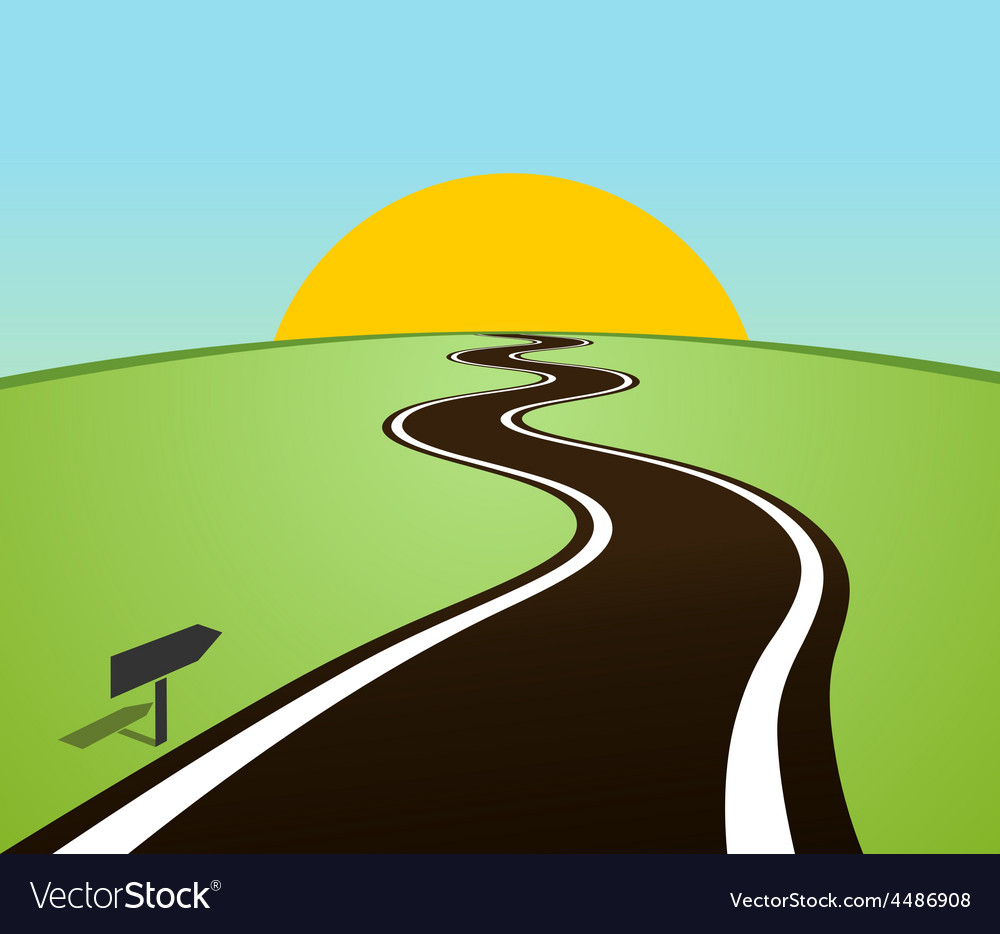 Winding road in the field over the horizon sun vector   Price: 1 Credit (USD $1)