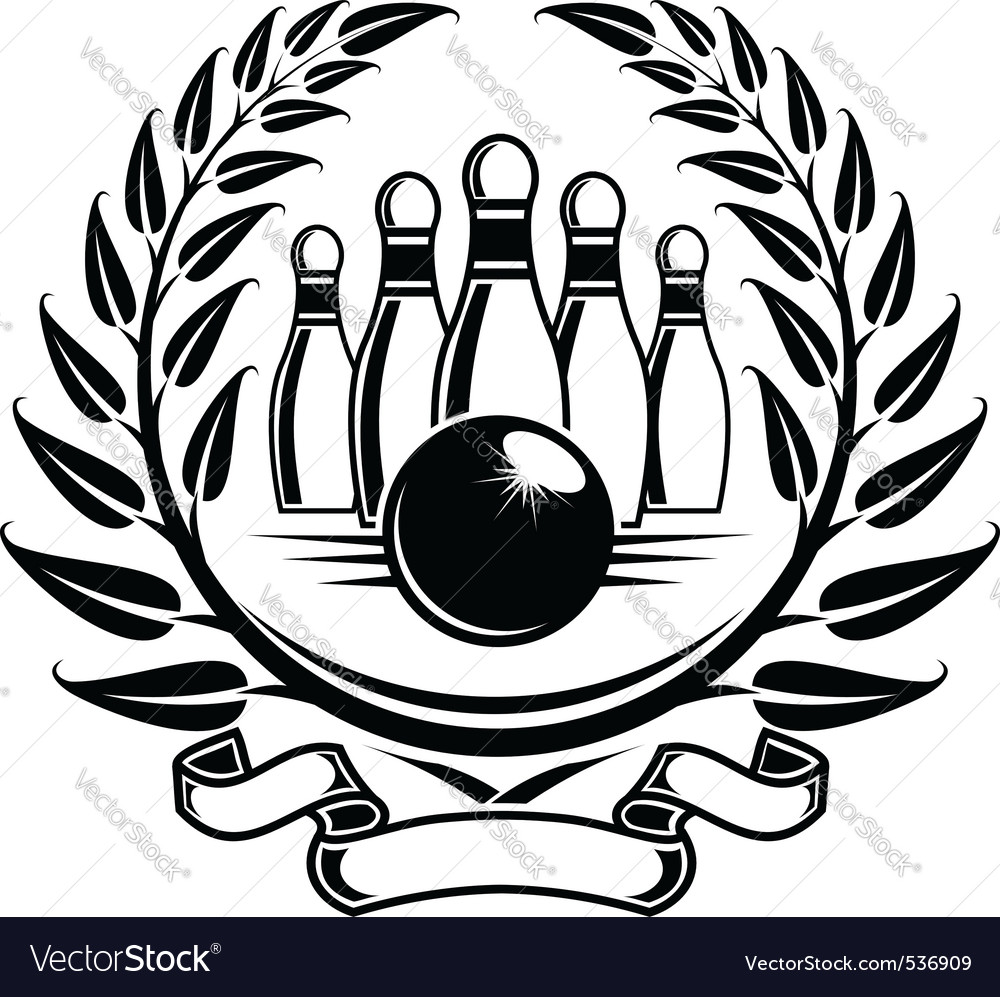 Bowling symbol in laurel wreath in retro style vector | Price: 1 Credit (USD $1)