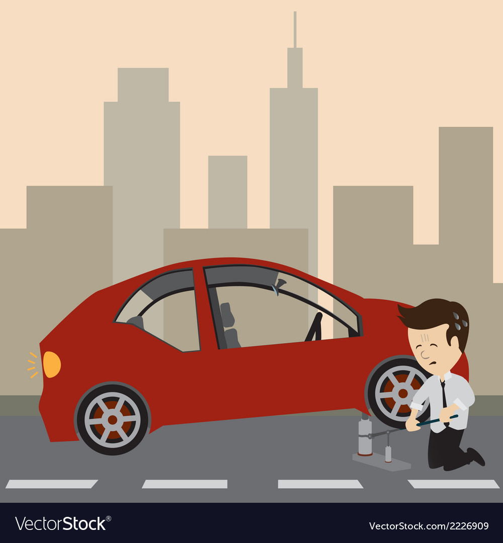 Businessman with a car vector | Price: 1 Credit (USD $1)