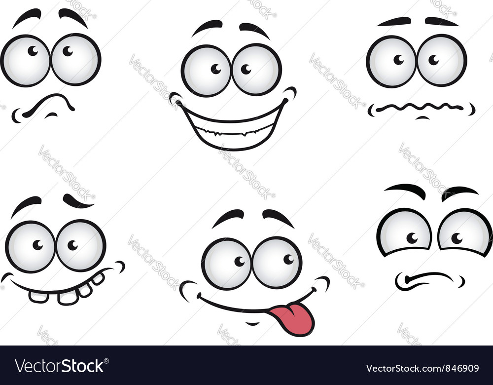 Cartoon emotions faces vector | Price: 1 Credit (USD $1)