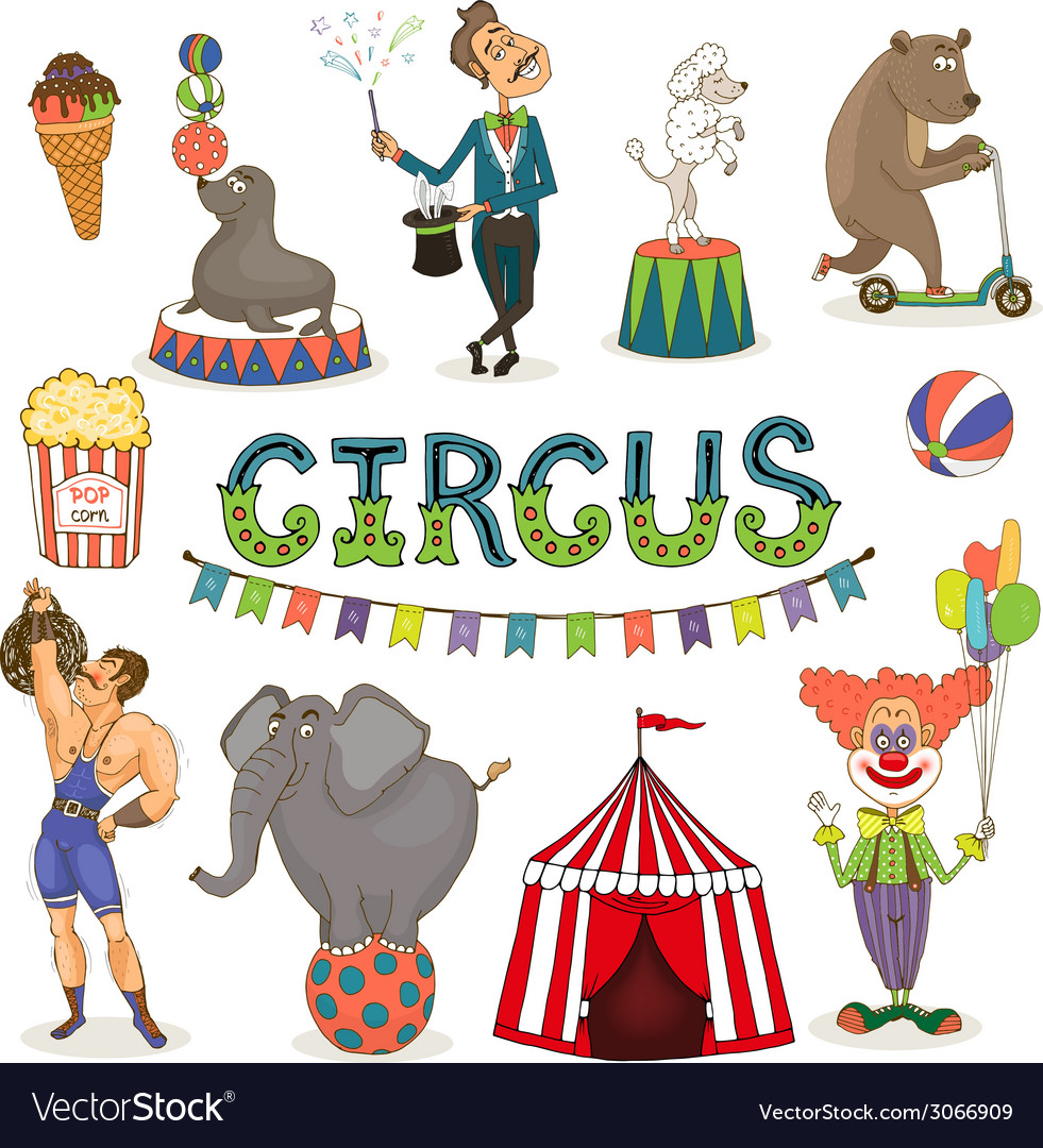 Circus funfair and fairground icon set vector | Price: 1 Credit (USD $1)