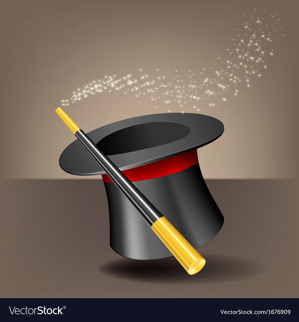 Magic hat and wand with sparkles vector | Price: 1 Credit (USD $1)
