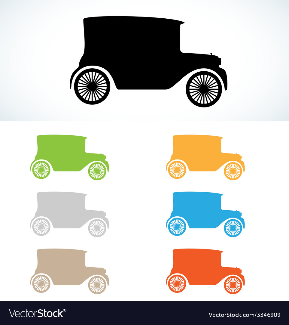 Old car silhouette vector | Price: 1 Credit (USD $1)