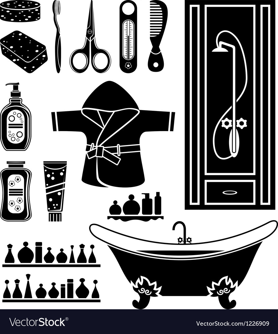 Set of things for bathing vector | Price: 1 Credit (USD $1)