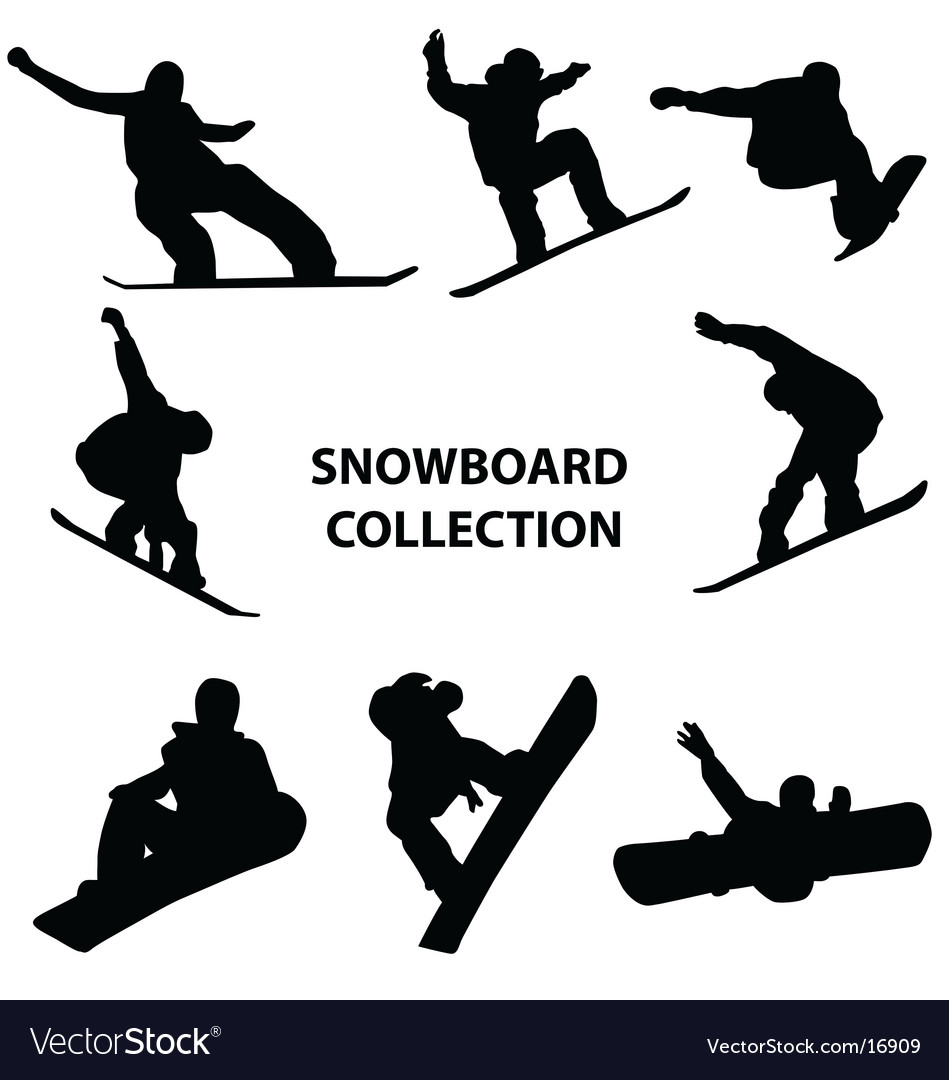 Snowboard silhouettes vector | Price:  Credit (USD $)