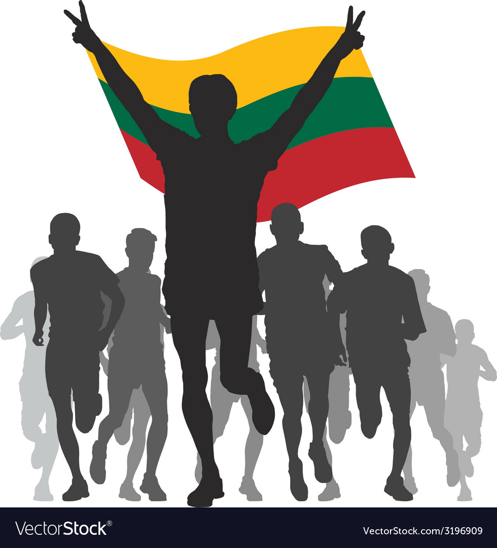Winner with the lithuania flag at the finish vector | Price: 1 Credit (USD $1)