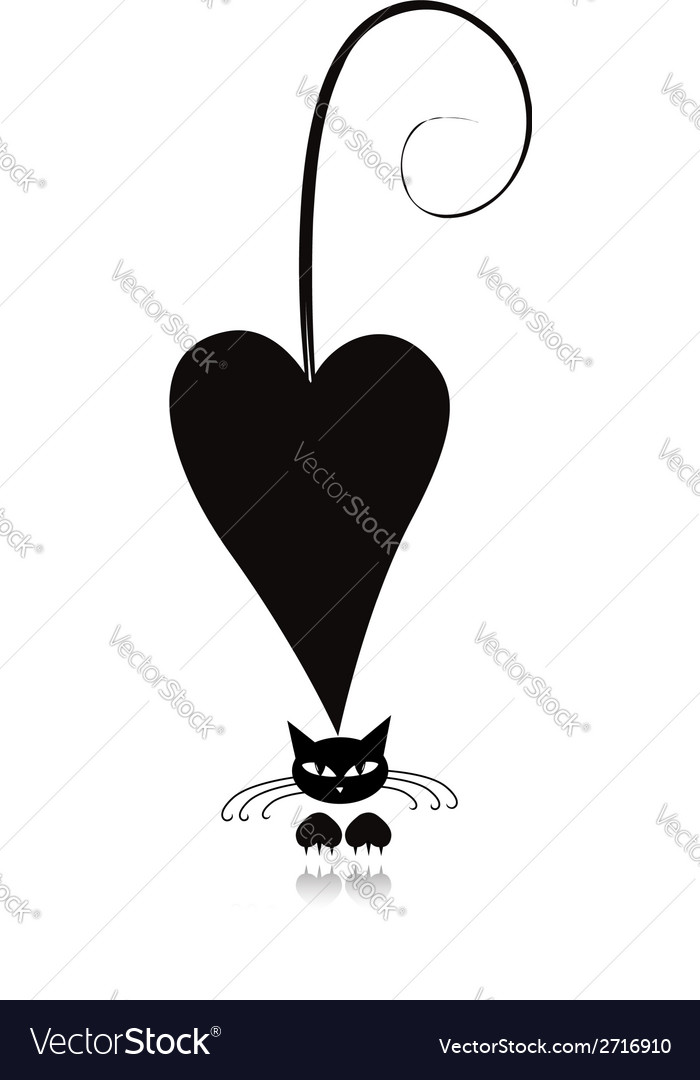 Cat in love black silhouette for your design vector | Price: 1 Credit (USD $1)
