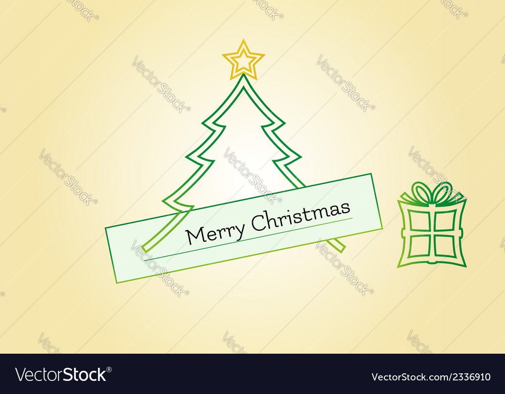 Christmas card with tree star and gift vector   Price: 1 Credit (USD $1)