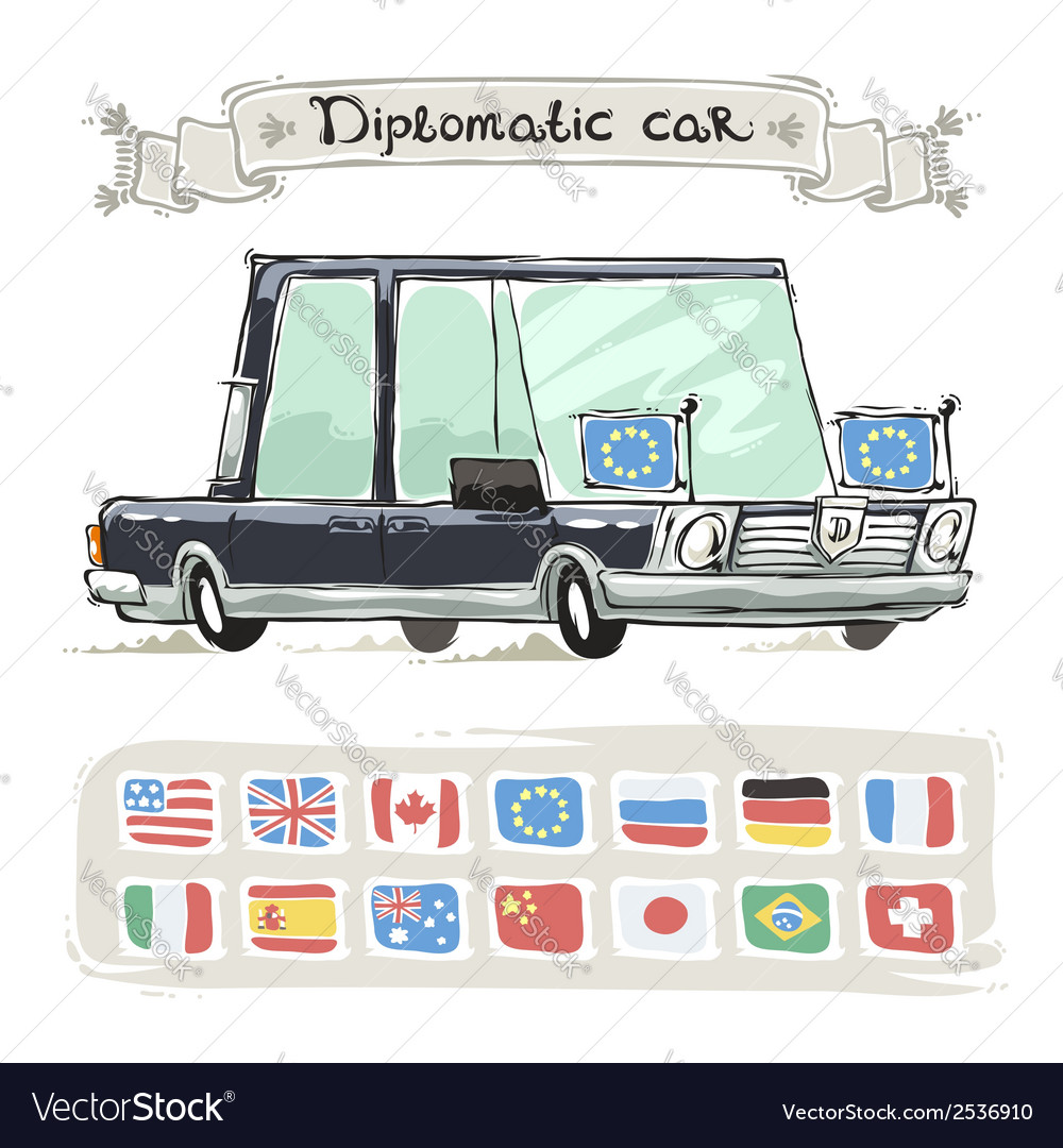 Diplomatic car with flags set vector | Price: 1 Credit (USD $1)