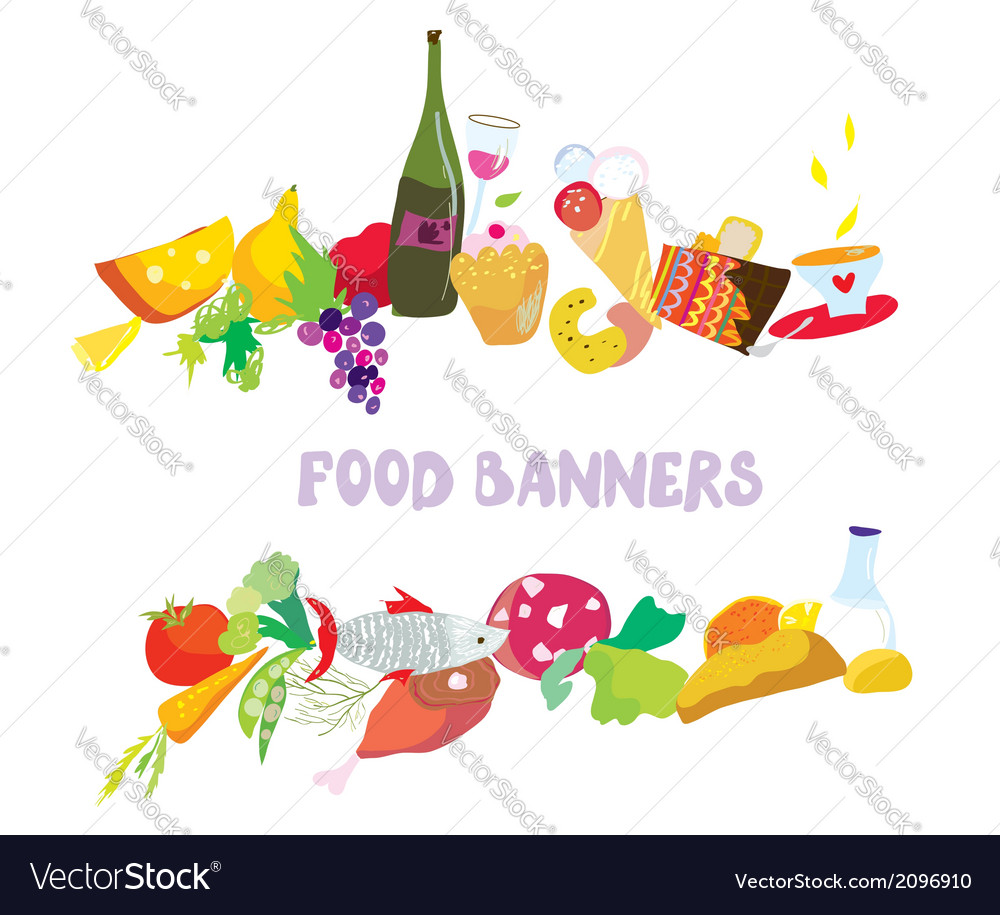 Food banners set cartoon vector | Price: 1 Credit (USD $1)