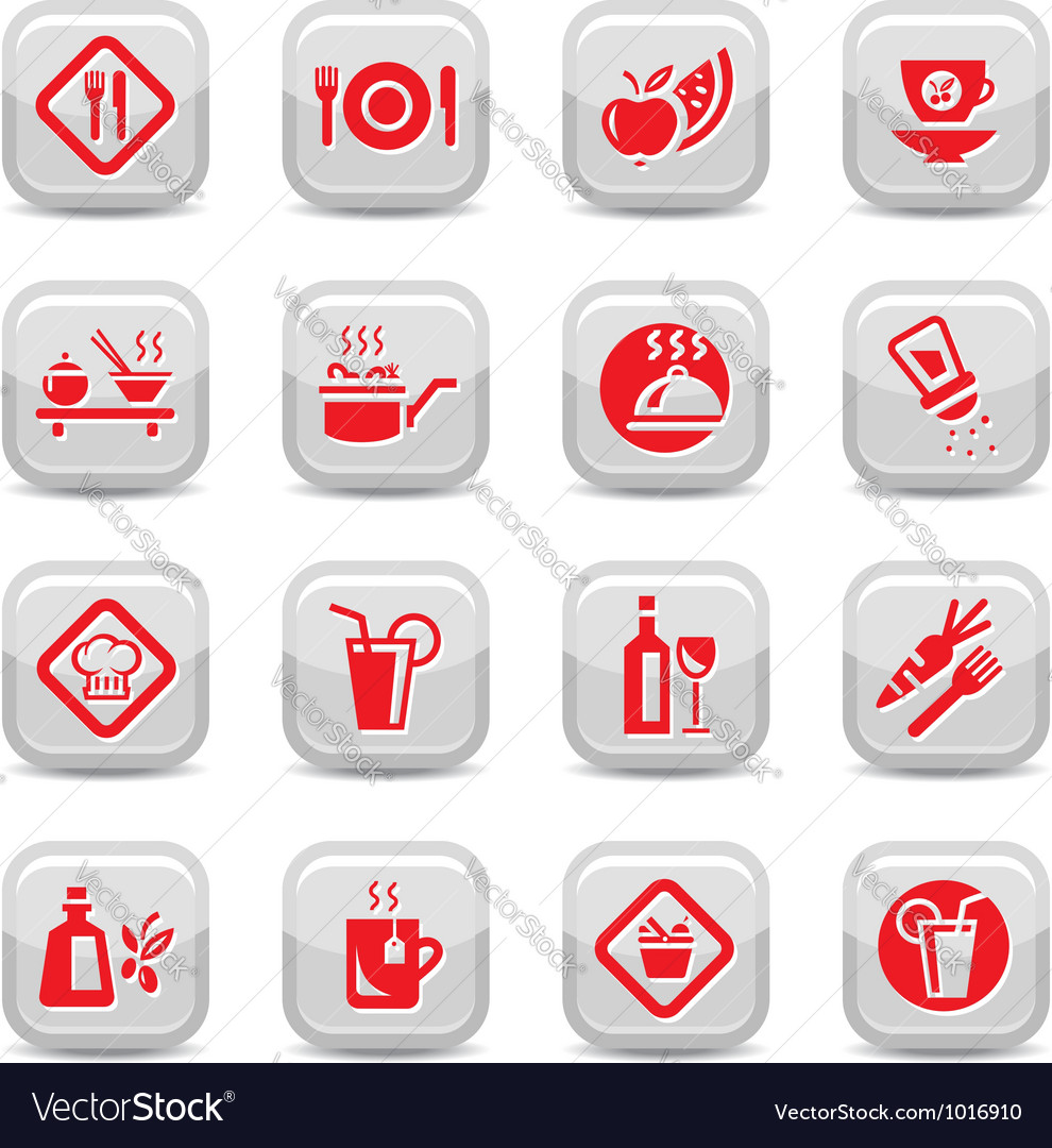 Food type icon set vector | Price: 1 Credit (USD $1)