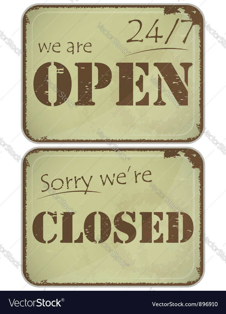 Sign open closed vector | Price: 1 Credit (USD $1)