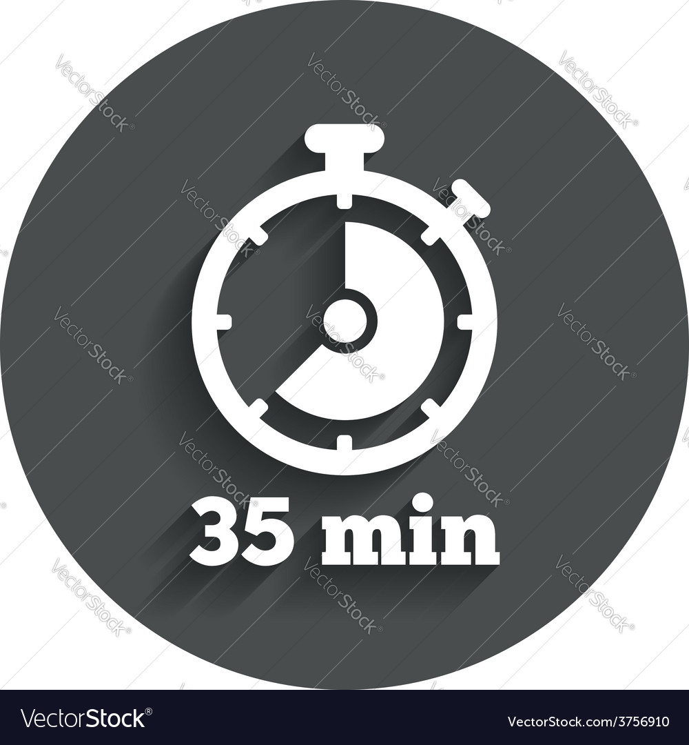 Timer sign icon 35 minutes stopwatch symbol vector | Price: 1 Credit (USD $1)
