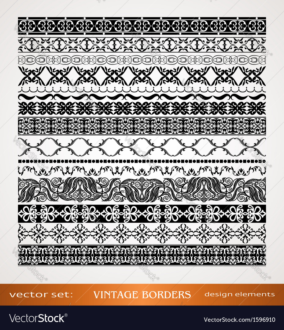 Vintage style ornamental borders vector | Price: 1 Credit (USD $1)