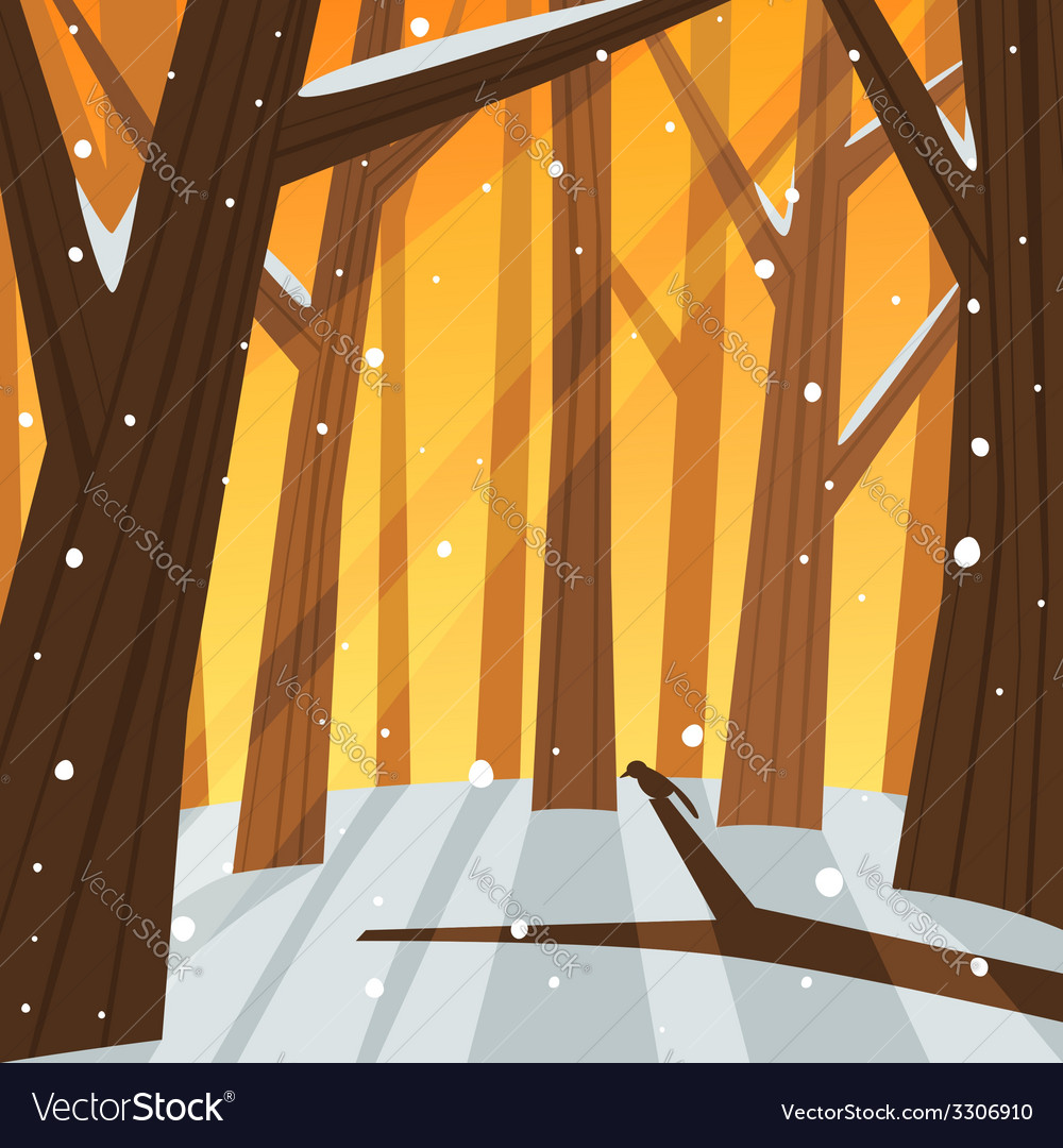 Winter in the forest vector | Price: 1 Credit (USD $1)