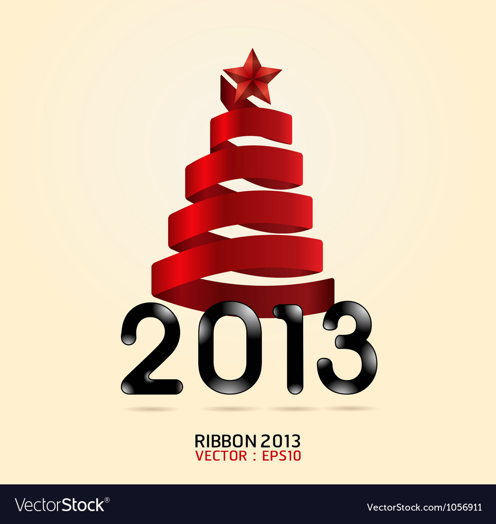 2013 ribbon abstract xmas tree vector | Price: 1 Credit (USD $1)