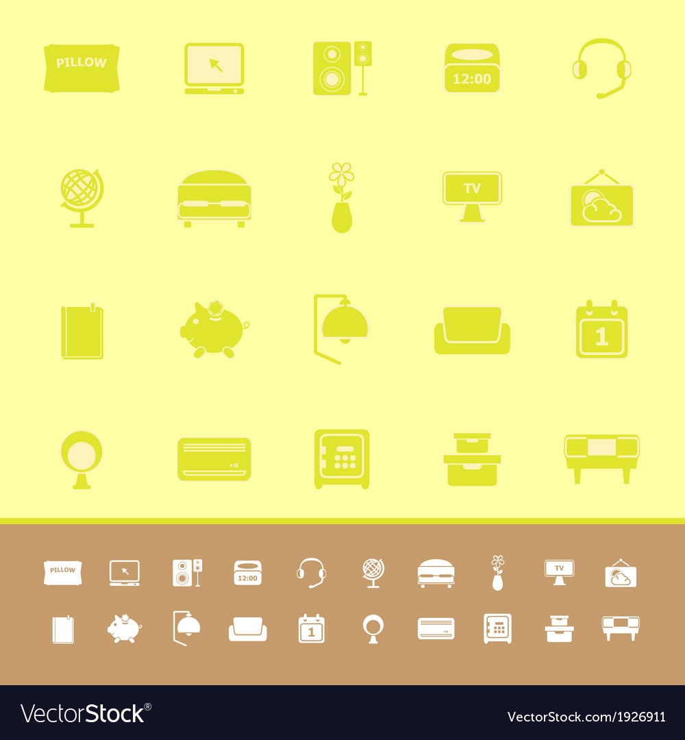 Bedroom color icons on yellow background vector | Price: 1 Credit (USD $1)