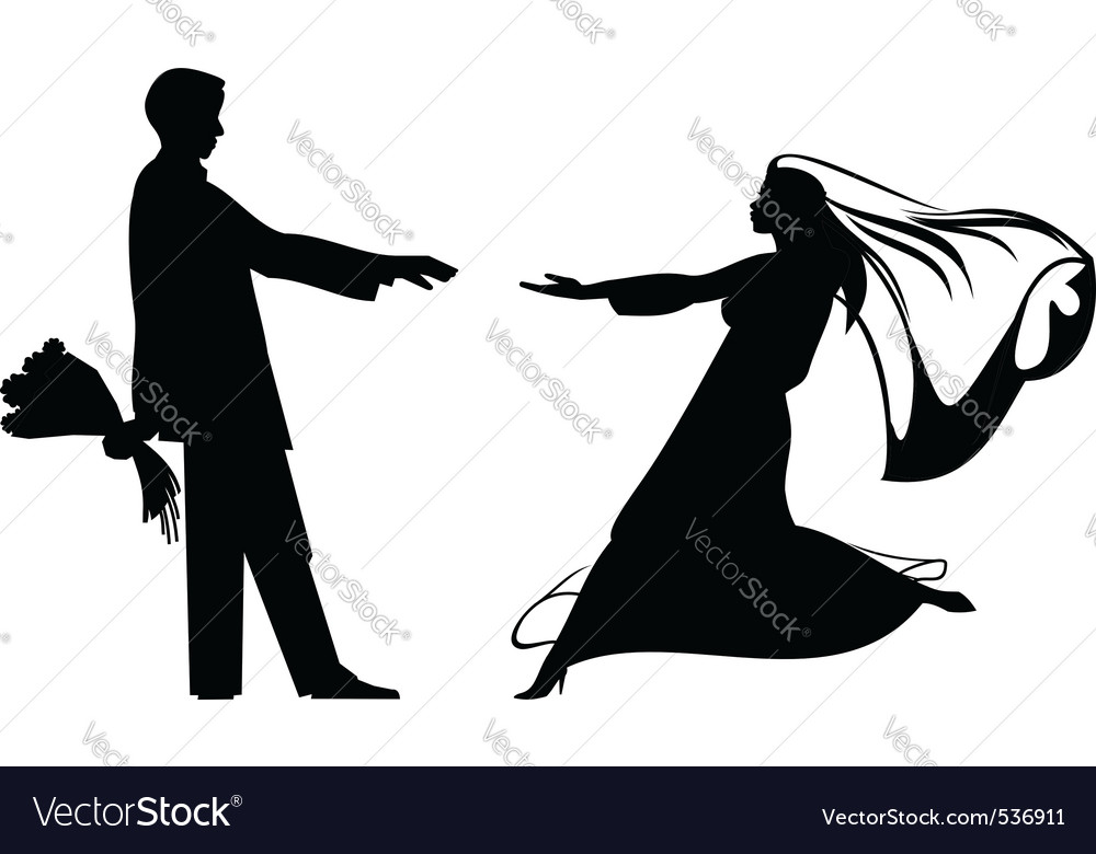 Bride and groom silhouettes for wedding design vector | Price: 1 Credit (USD $1)