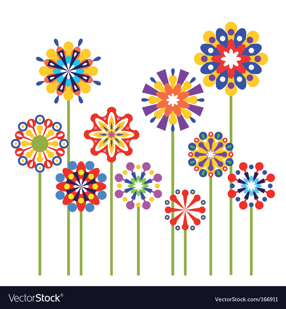 Colorful abstract flowers vector | Price: 1 Credit (USD $1)